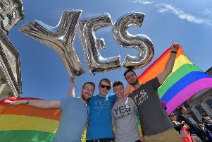Supporters in favour of same-sex marriage await the referendum vote outcome on May 23, 2015 in Dublin