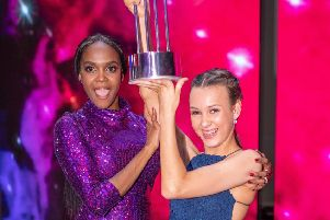 Ellie celebrates with her dance tutor Oti Mabuse. Picture: Tom Dymond