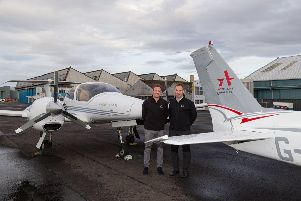 ACS Aviation managing director Graeme Frater (right) with group technical director Craig McDonald. Picture: Wallace Shackleton