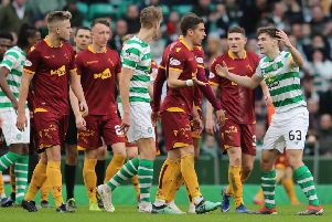 Kieran Tierney remonstrates with Motherwell's players after the away side scored in the 4-1 defeat at Celtic Park. Picture: PA