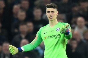 Kepa Arrizabalaga refuses to come off in Sunday's Carabao Cup final at Wembley. Picture: Getty.