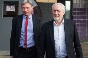 Scottish Labour leader Richard Leonard with party leader Jeremy Corbyn. Picture: John Devlin