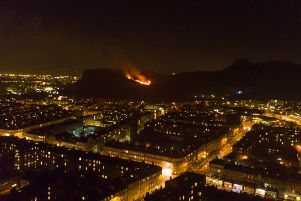 The view of the fire in the Salisbury Crags area of Arthur's Seat. Pic: Andy Holbrook