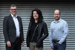Left to right are Peter Ferry, Hannah Rudman and Stuart Fraser of Wallet.Services. Picture: Stewart Attwood
