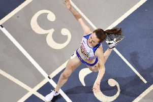 Laura Muir wins the 3000m final at the European Athletics Indoor Championships in Glasgow. Picture: Ben Stansall/AFP/Getty Images