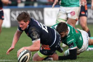 Edinburgh score a try against Benetton. Pic: Fotosport/REX/Shutterstock/James Johnstone