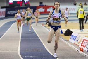 Laura Muir crosses the line to win the 1500m title in Glasgow last night. Picture: SNS.
