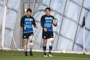 Scotland's Peter Horne, left, and Sam Johnson. Picture: Gary Hutchison/SNS