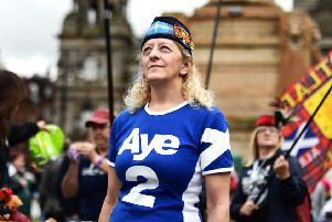 Stock image. An independence supporter in 2018. Picture: John Devlin.