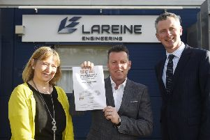 From left: Executive councillor for development and transport Cathy Muldoon, director of Lareine Engineering Tom Bates, and Business Gateway West Lothian manager Jim Henderson. Picture: Greg Macvean