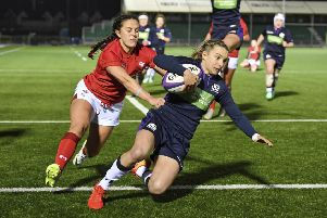 Scotland's Chloe Rollie goes over for her side's third try. Picture: SNS/SRU