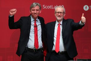 Scottish Labour leader Richard Leonard with Jeremy Corbyn after making his keynote address at the Scottish Labour's Annual Conference in Caird Hall, Dundee. Picture: PA