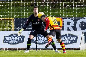 Scott McDonald scores to make it 1-0 to Partick Thistle. Picture: SNS