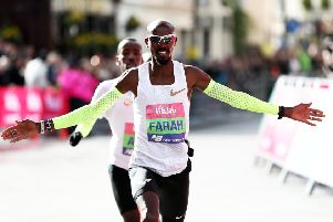 Sir Mo Farah celebrates winning the men's Vitality Big Half in London. Picture: Getty.