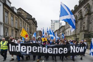 Pro-independence marchers head through Glasgow in May 2018. Picture: John Devlin