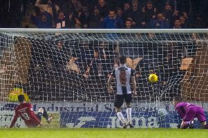 Liam Millar turns home Eamonn Brophy's cross to snatch victory for Kilmarnock against St Mirren in Paisley. Picture: SNS.