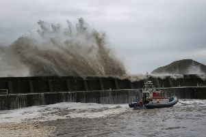 Wave overtopping during coastal storms at Stonehaven. Picture courtesy of Aberdeenshire Council