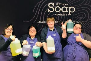 Members of the workforce at the Shetland Soap Company