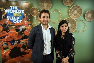 Malala Yousafzai chats with Josh Littlejohn of Socialbite at Vesta, Queensferry Street in Edinburgh. Pic:''Stewart Attwood