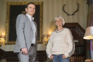 Blane Dodds, Tennis Scotland chief executive, and Judy Murray at Cromlix House, Dunblane. Picture: Jeff Holmes/PA Wire