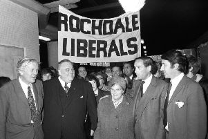 Remarks by Lord David Steel, ' right, with then-new MP Cyril Smith, second left, in 1972 ' could lead to his suspension by the Lib Dems. Picture: contributed