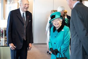 Bruno Schroder with the Queen at the opening of Schroders' new HQ  in London in November 2018. Picture: REX/Shutterstock