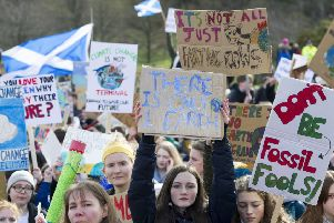 It was estimated around 1,800 people took part in the Edinburgh demonstration outside the Scottish Parliament. Picture: Ian Rutherford