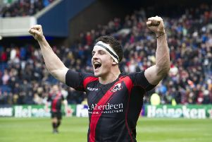 Matt Scott celebrates Edinburgh's victory over Toulouse in 2012. Just under 38,000 people attended the match