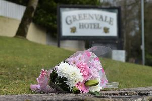 COOKSTOWN, NORTHERN IRELAND - MARCH 18: Flowers have been left outside the Greenvale Hotel. Picture: Charles McQuillan/Getty Images