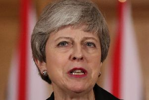 Britain's Prime Minister Theresa May makes a statement inside 10 Downing Street in London on March 20, 2019. Picture: AFP/Getty Images