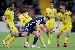 James Forrest was well marshalled by the Kazakhstan defence. Picture: PA
