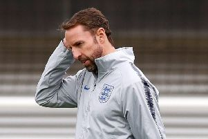 Thinking time for Gareth Southgate as he contemplates his team to face Czech Republic during training at St George's Park yesterday. Picture: PA.