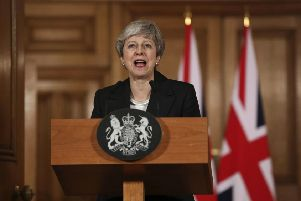May delivers her statement at 10 Downing Street last Wednesday, 1,000 days after the 2016 referendum. Picture: Jonathan Brady/AP