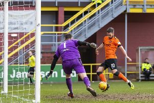 Nicky Clark scores 'Dundee United's late winner. Picture: Roddy Scott/SNS