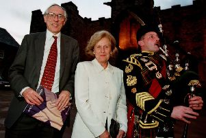 Donald Dewar and Baroness Smith pose for photographs before the historic Devolution Speech.