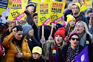 Thousands of teachers march in Glasgow over pay.''''Picture: John Devlin / TSPL