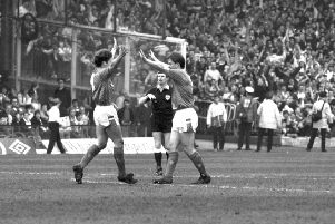 Ally McCoist, left, and Kevin Drinkell celebrate Rangers' 2-1 win at Parkhead in 1989.