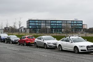 Cars parked on cycle lane. Police Scotland staff have been parking on a cycle lane near to their office at 2 Clyde Gateway in Glasgow. Picture: John Devlin