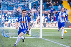 Greg Taylor wheels away to celebrate scoring Kilmarnock's second goal. Picture: SNS.