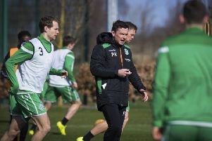 Paul Heckingbottom takes training at Hibs' training centre in Ormiston. Picture: SNS Group