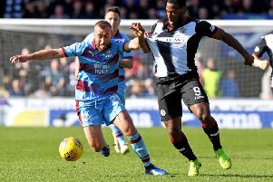 Dundee's James Horsfield, left, battles with St Mirren's Duckens Nazon. Picture: Alan Harvey/SNS