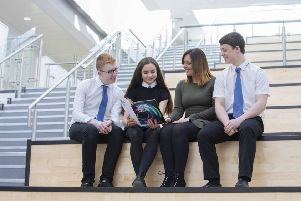 Baillie Gifford early careers consultant Victoria MacGillivray with Newbattle High School pupils Jack, Megan and Nathan. Picture: Contributed