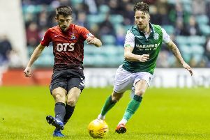 Kilmarnock's Greg Taylor is closed down by Marc McNulty. Picture: SNS Group
