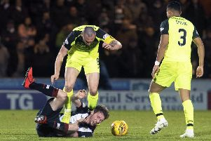 Scott Brown clashes with Jim Kellerman - but Neil Lennon defended his captain. Picture: SNS Group