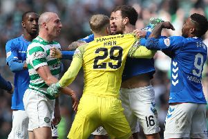 Players and officials from Celtic and Rangers were involved in a confrontation after Sunday's Old Firm match. Picture: Getty images