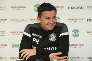 Award: Hibs head coach Paul Heckingbottom. Picture: SNS Group