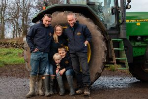 Alison Milne and family on their farm. Picture: Granite Creative