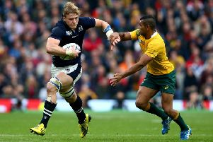David Denton takes on Kurtley Beale of Australia during the 2015 Rugby World Cup quarter-final at Twickenham. Picture: Paul Gilham/Getty Images