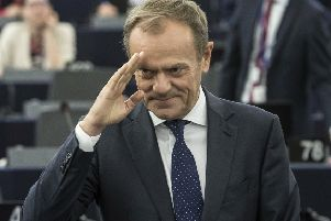 European Council president Donald Tusk waves at the European Parliament in Strasbourg, France. Picture: AP Photo/Jean-Francois Badias