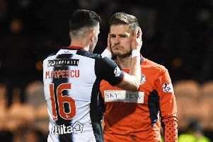 St Mirren goalkeeper Vaclav Hladky was dazed after a flashbang exploded next to him during Wednesday's match against Celtic. Picture: SNS.